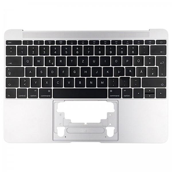 """Topcase mit Tastatur für MacBook Retina 12"""" (A1534 2015) silver QWERTZ"""