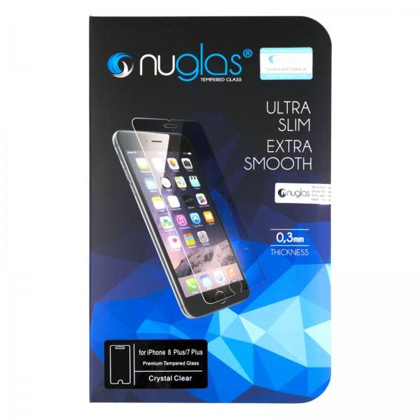iPhone 7 PLUS/8 PLUS Schutzfolie Panzerglas Tempered Glass NUGLAS mit Blister